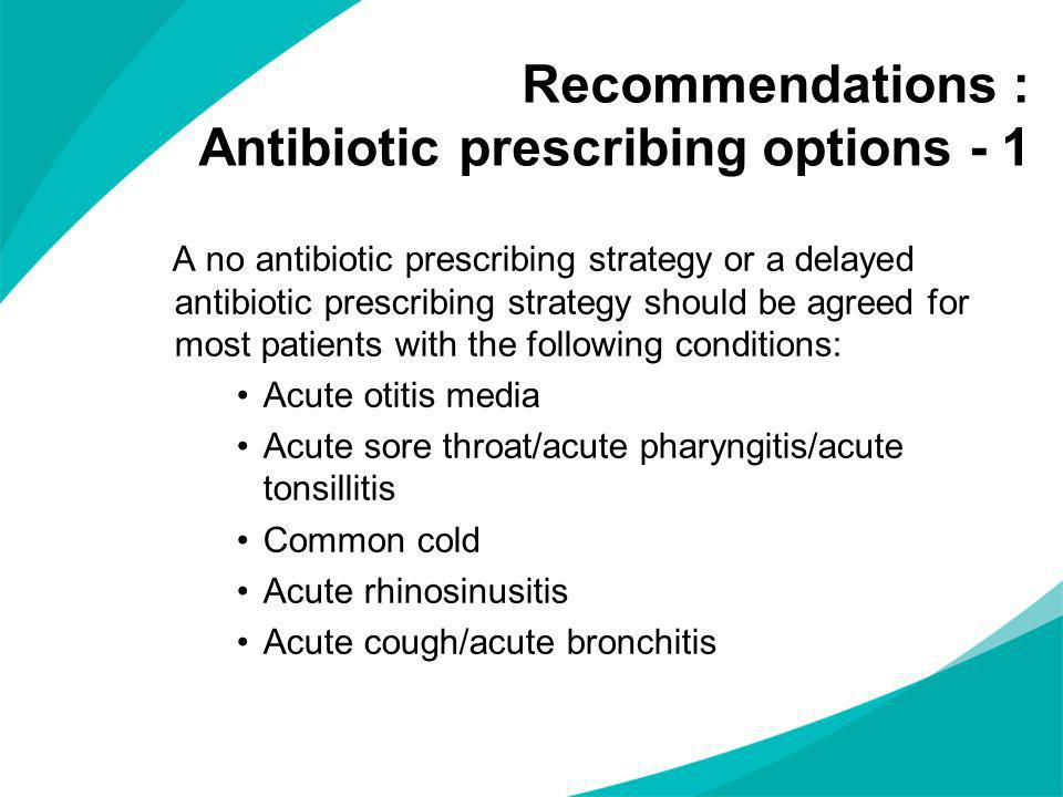 Recommendations : Antibiotic prescribing options - 1