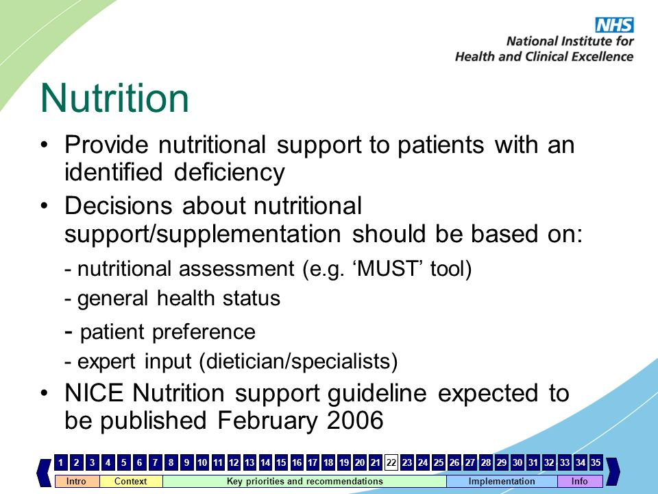 Nutrition Provide nutritional support to patients with an identified deficiency.