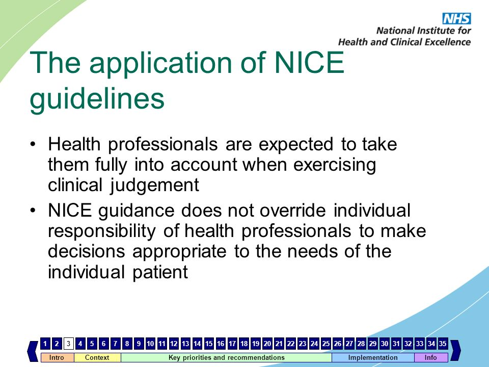 The application of NICE guidelines