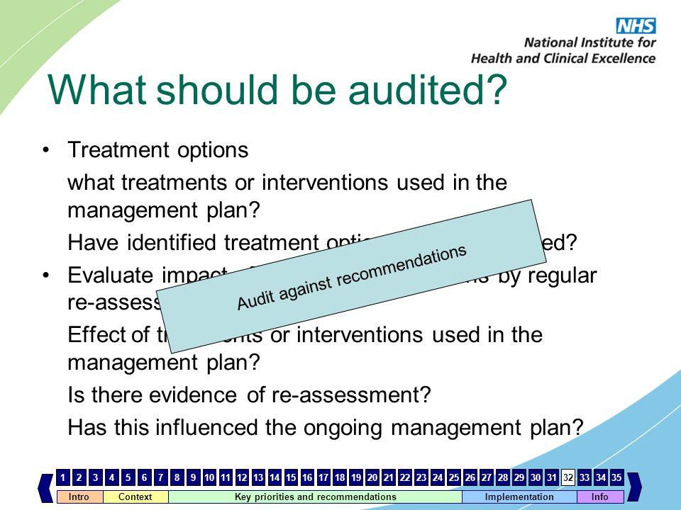 Audit against recommendations