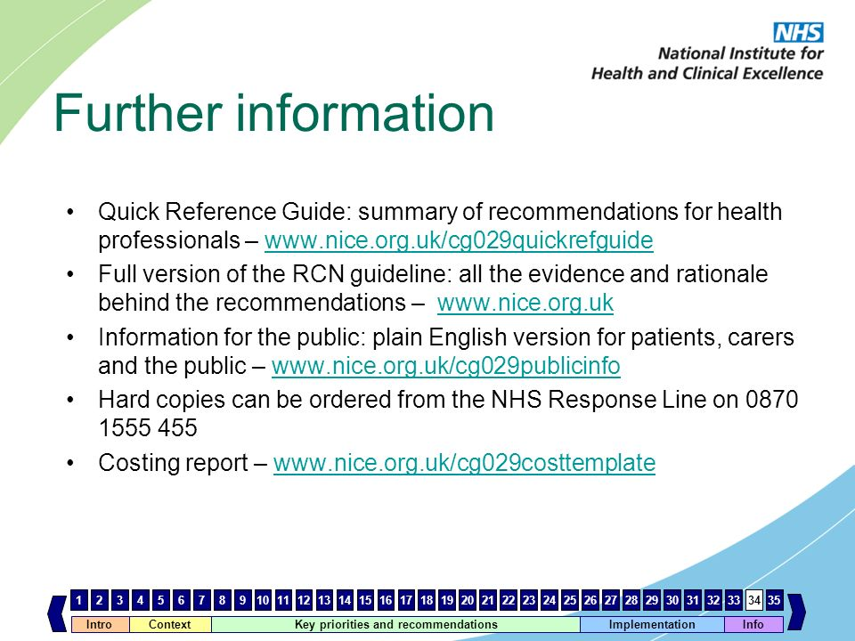 Further information Quick Reference Guide: summary of recommendations for health professionals – www.nice.org.uk/cg029quickrefguide.