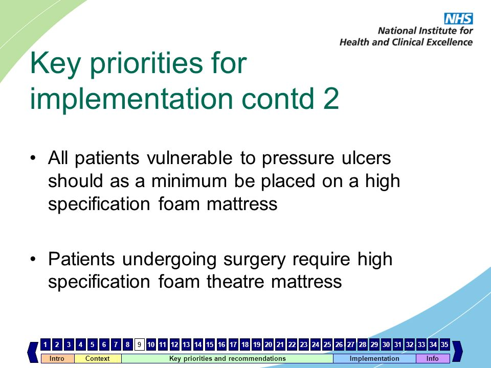Key priorities for implementation contd 2