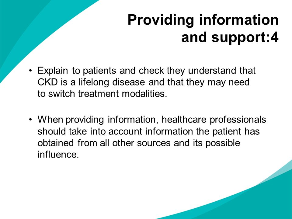 Providing information and support:4