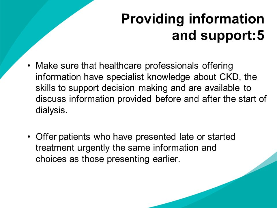 Providing information and support:5