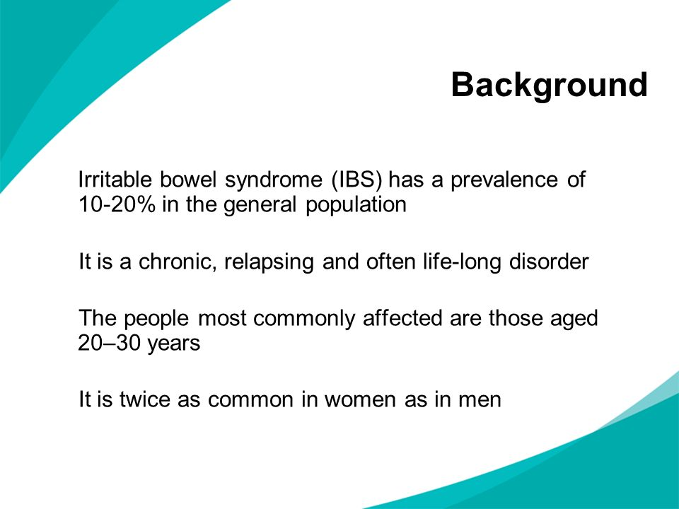 Background Irritable bowel syndrome (IBS) has a prevalence of 10-20% in the general population.