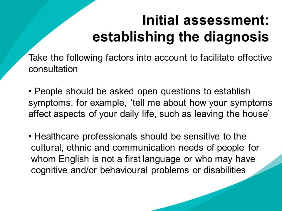Initial assessment: establishing the diagnosis