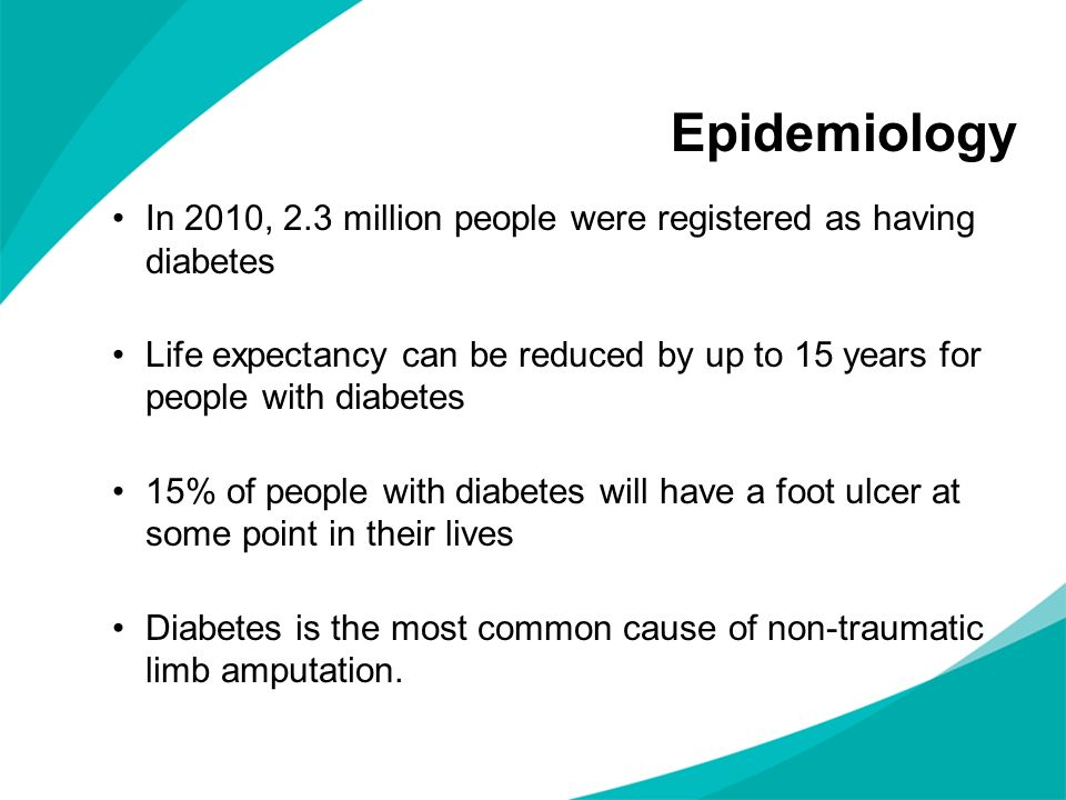 Epidemiology In 2010, 2.3 million people were registered as having diabetes.