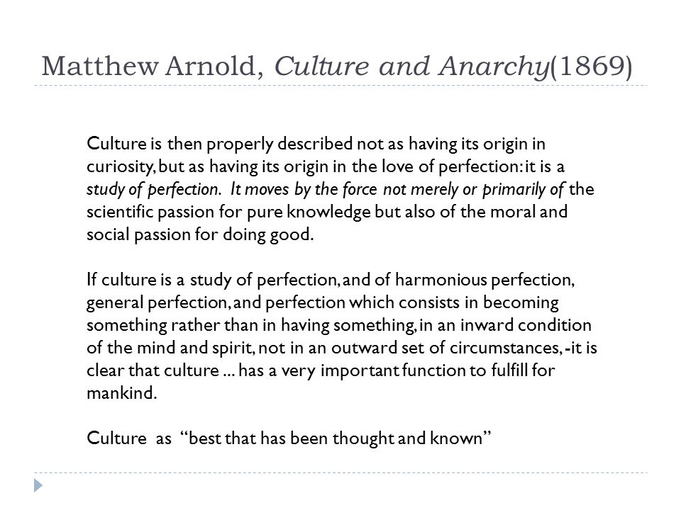 Culture and Anarchy Summary