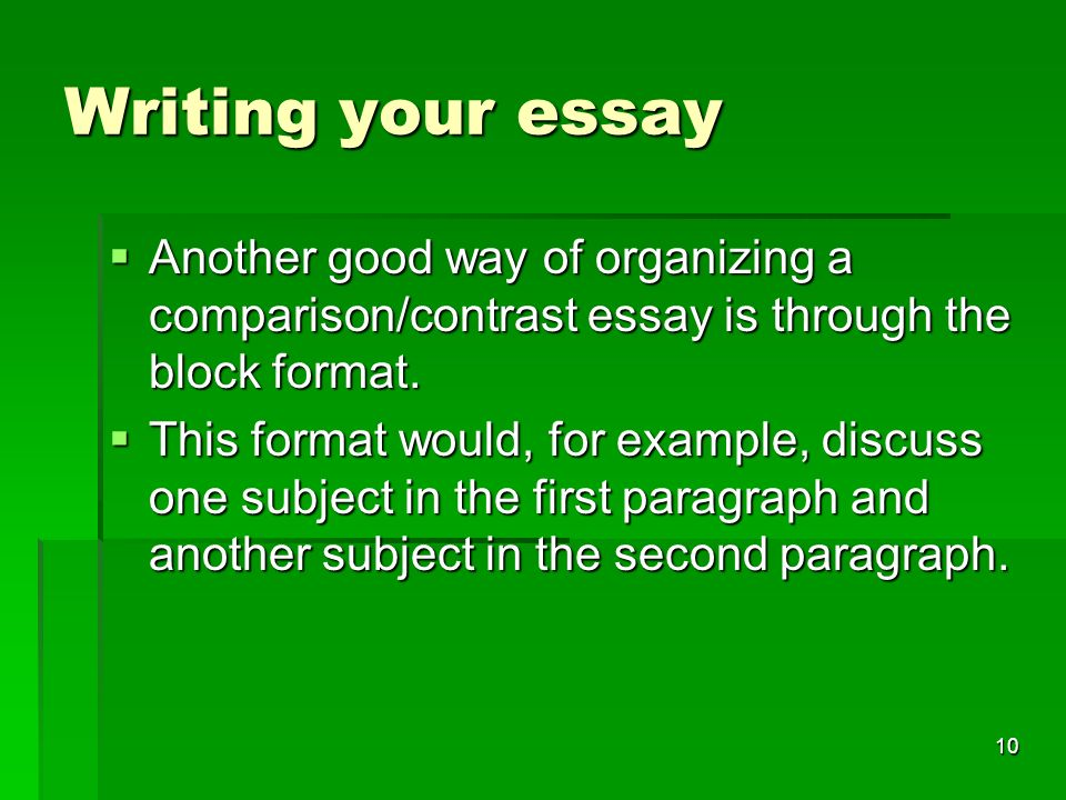 compare and contrast essay ppt  writing your essay another good way of organizing a comparison contrast essay is through the