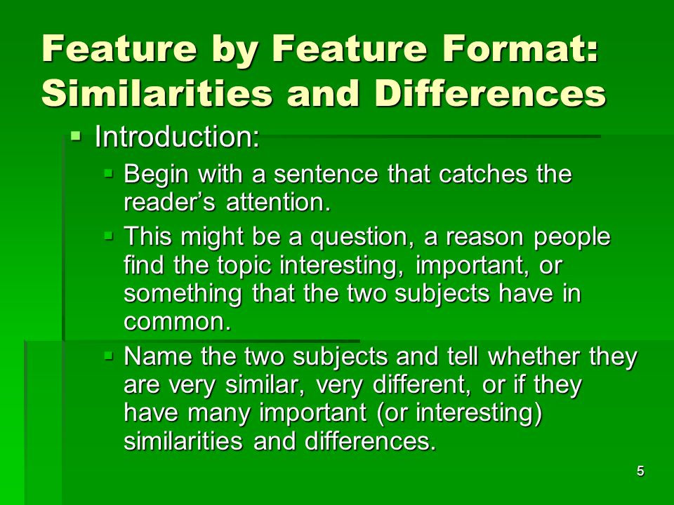 compare and contrast essay ppt  5 feature