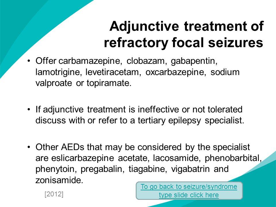 Adjunctive treatment of refractory focal seizures