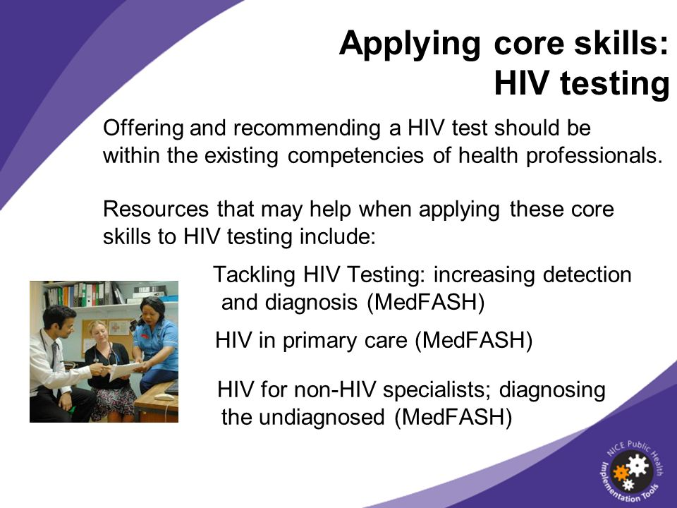 Applying core skills: HIV testing