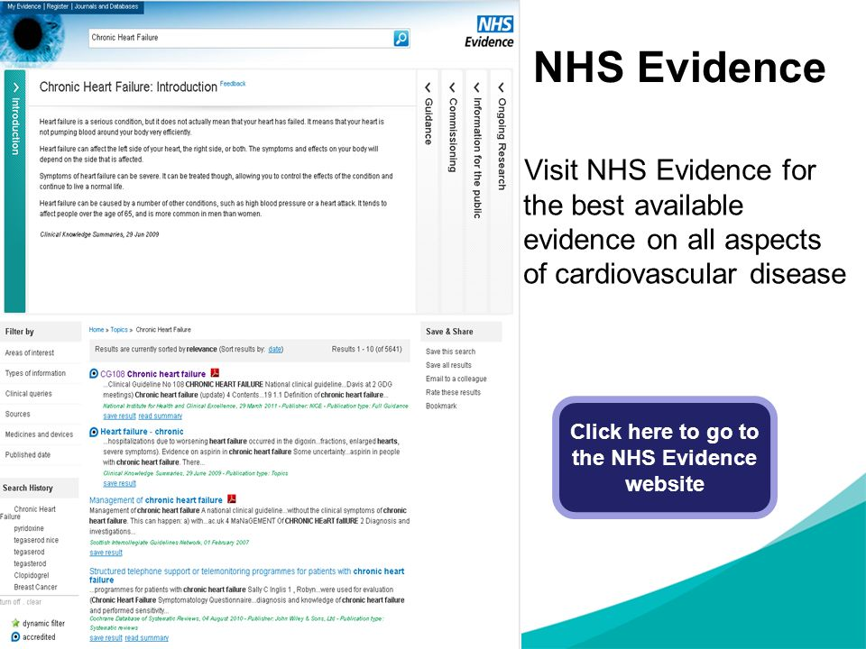 Click here to go to the NHS Evidence website
