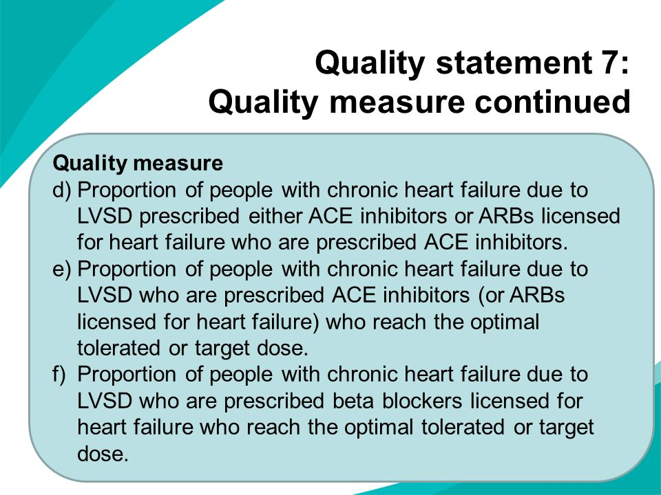 Quality statement 7: Quality measure continued