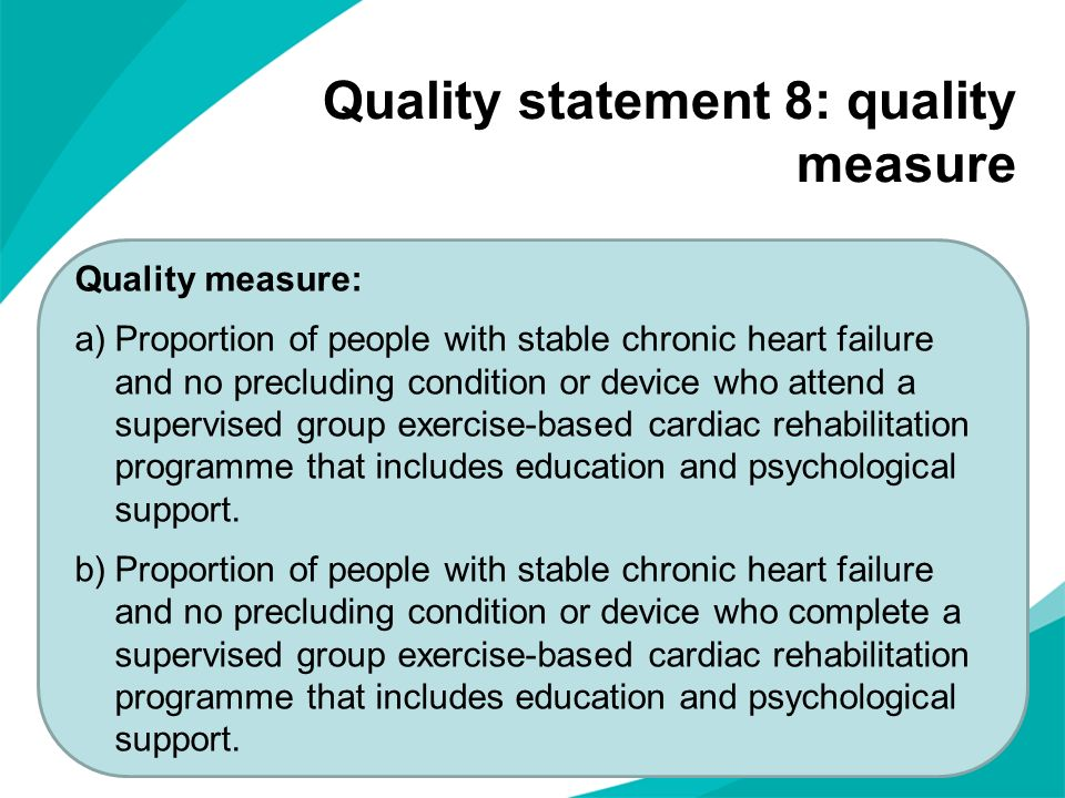 Quality statement 8: quality measure