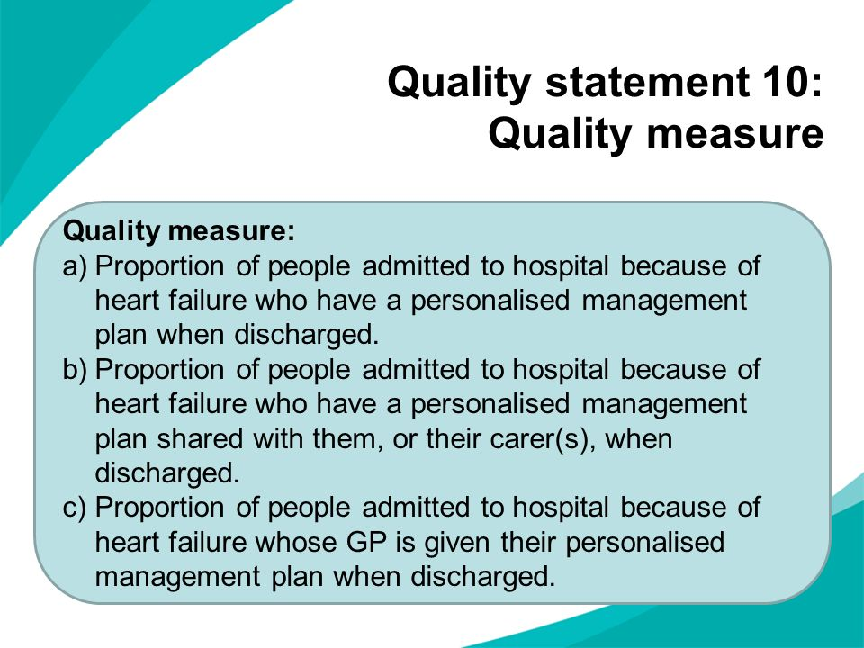 Quality statement 10: Quality measure