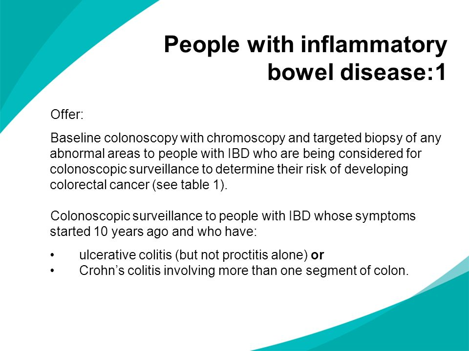 People with inflammatory bowel disease:1