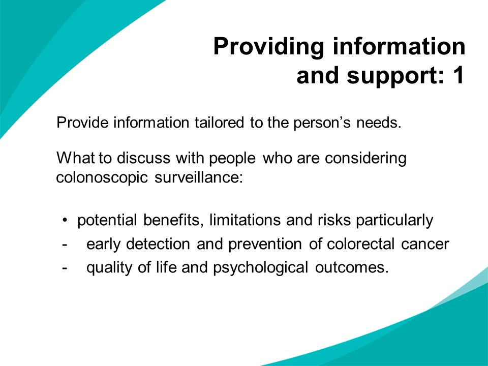 Providing information and support: 1
