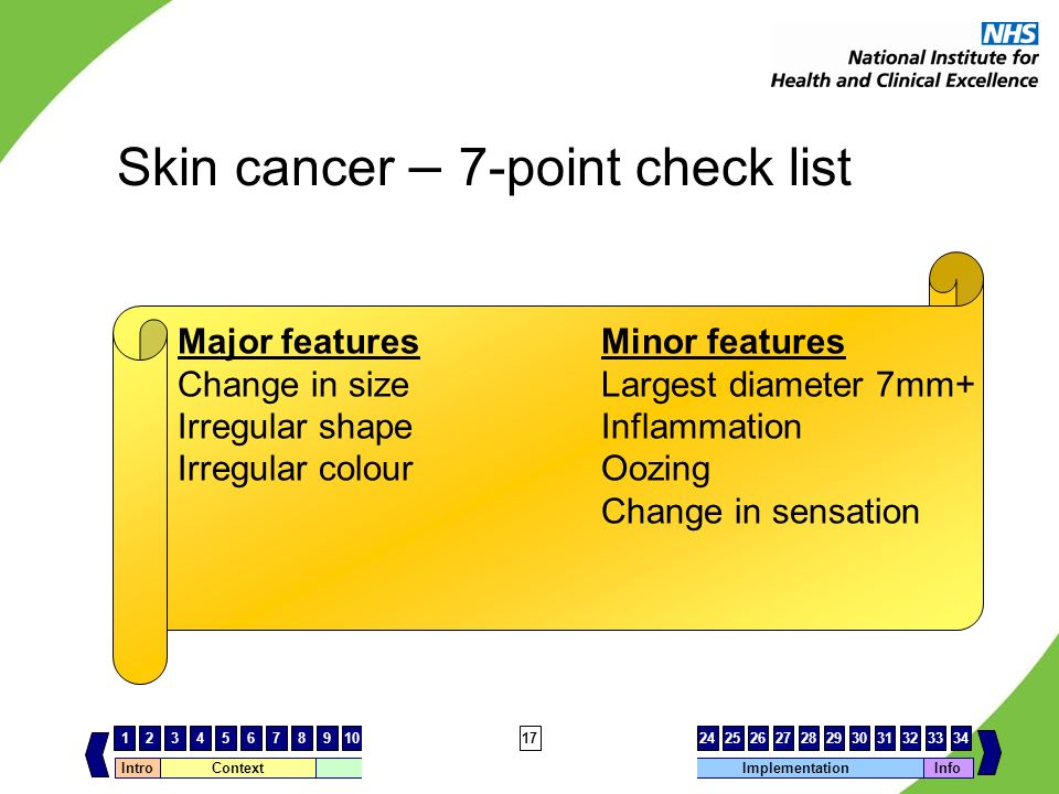 Skin cancer – 7-point check list