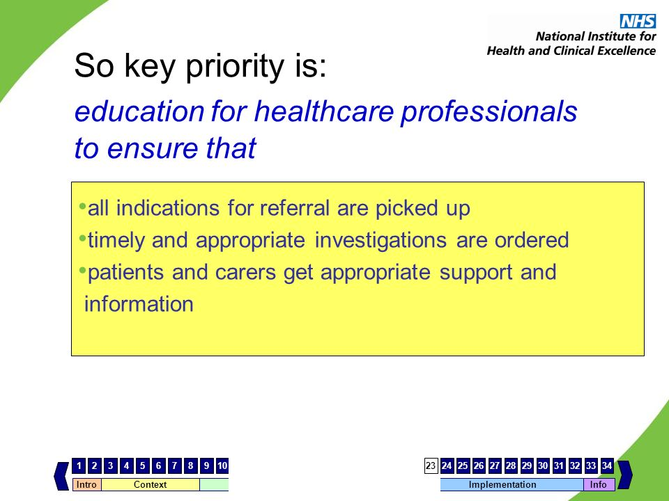 So key priority is:. education for healthcare professionals