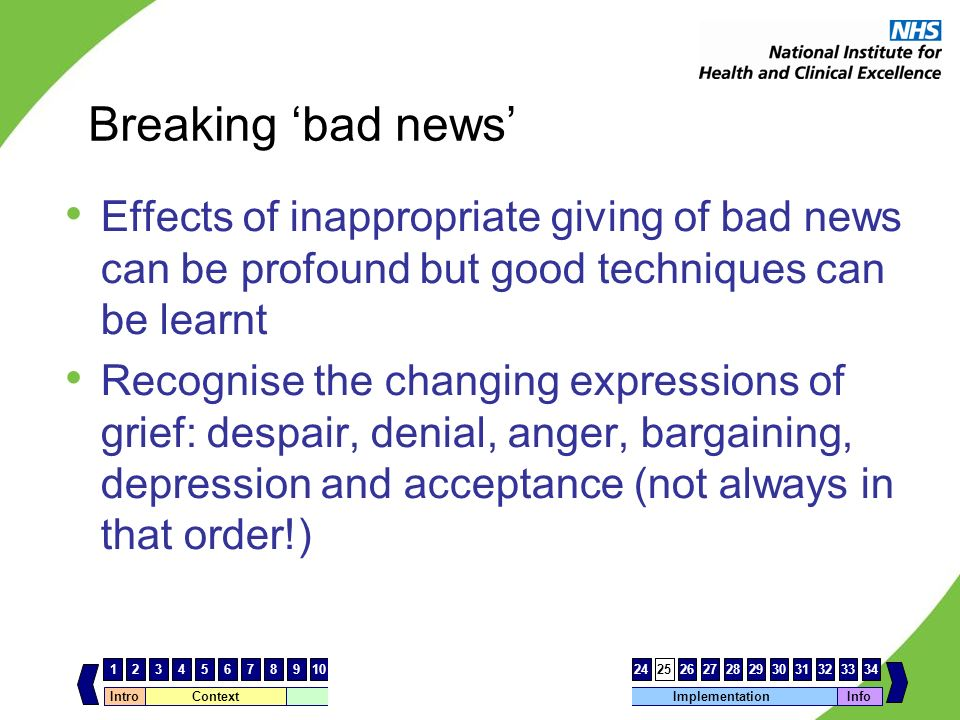 Breaking 'bad news' Effects of inappropriate giving of bad news can be profound but good techniques can be learnt.