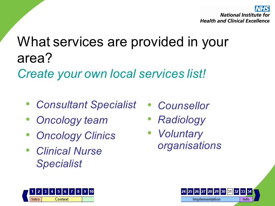 What services are provided in your area