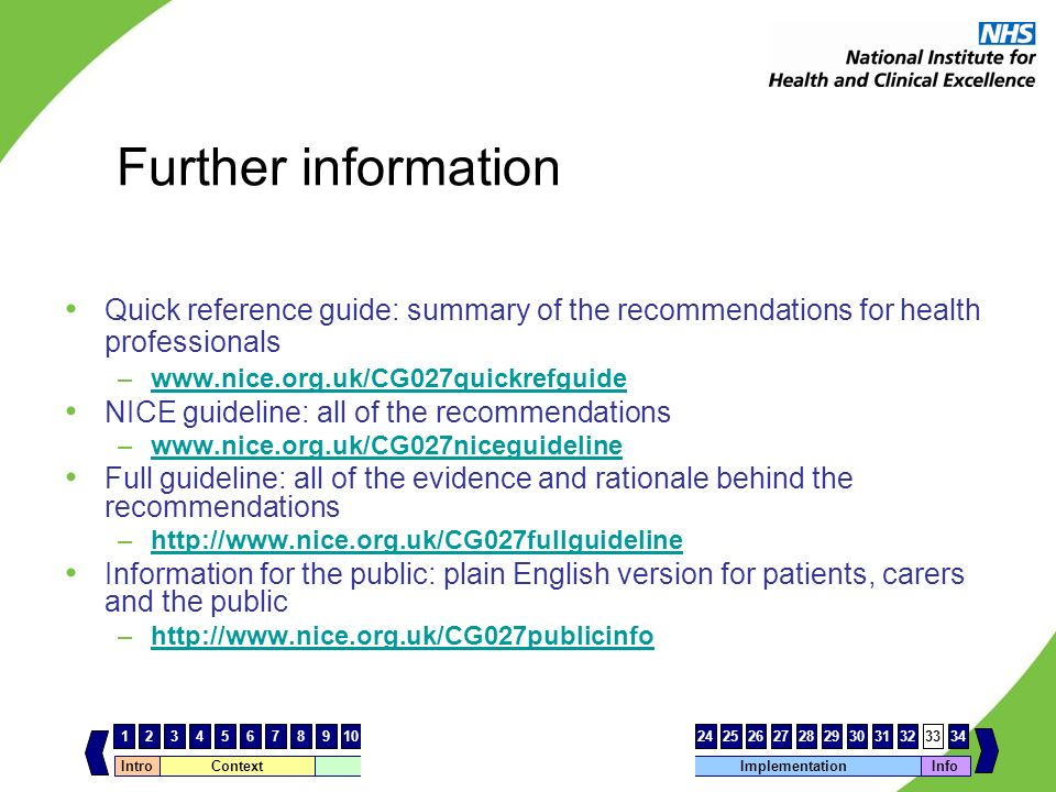 Further information Quick reference guide: summary of the recommendations for health professionals.