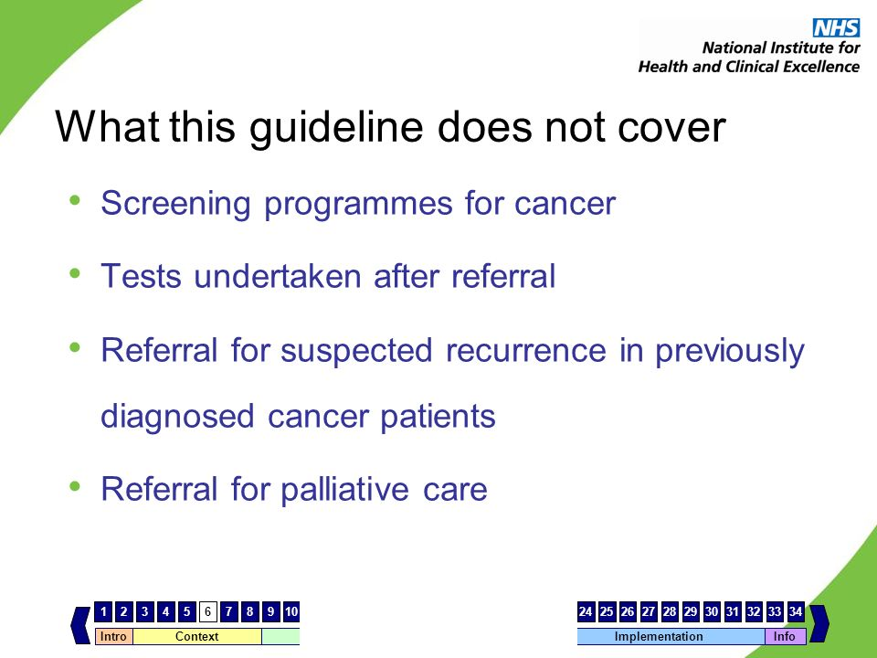 What this guideline does not cover