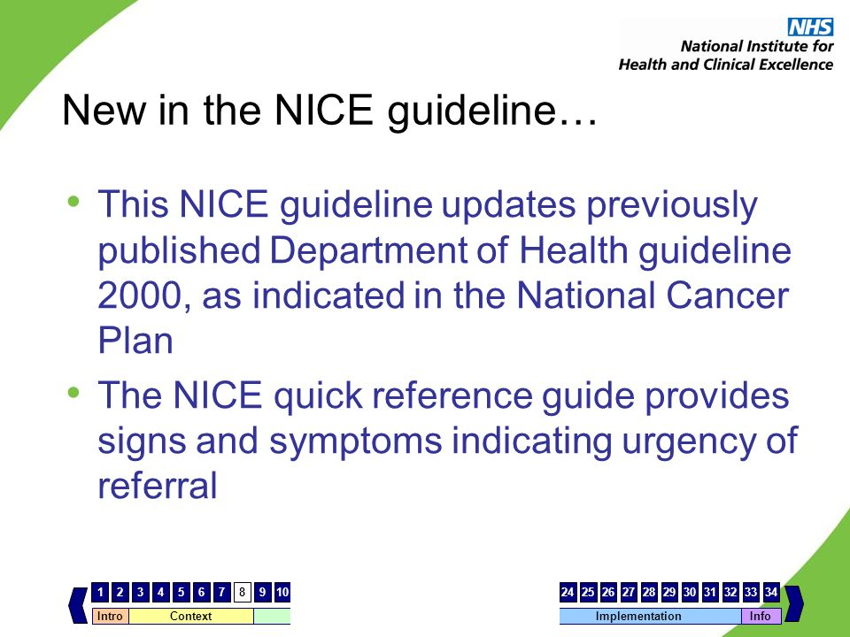 New in the NICE guideline…