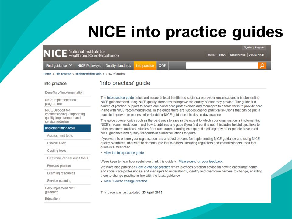 NICE into practice guides