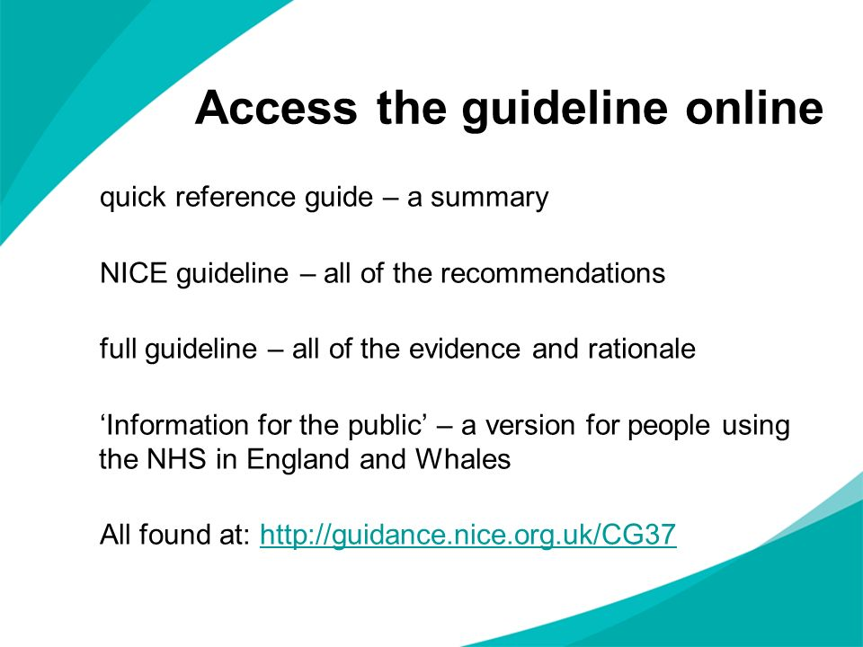 Access the guideline online