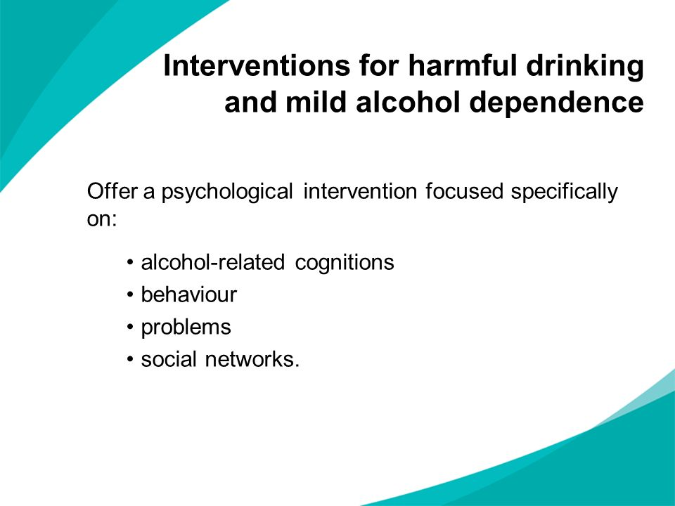 Interventions for harmful drinking and mild alcohol dependence
