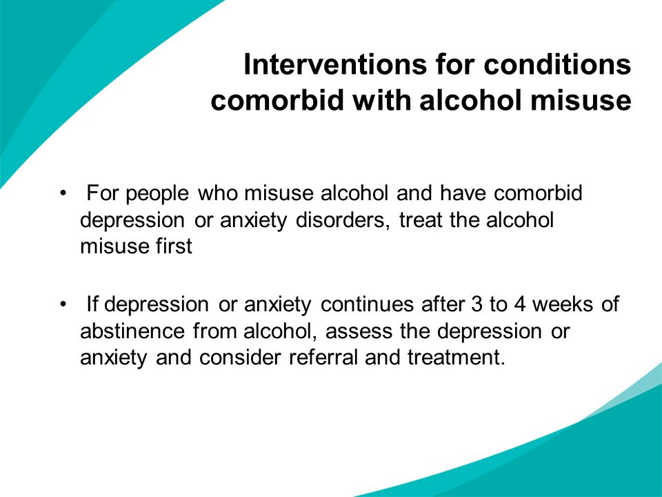 Interventions for conditions comorbid with alcohol misuse