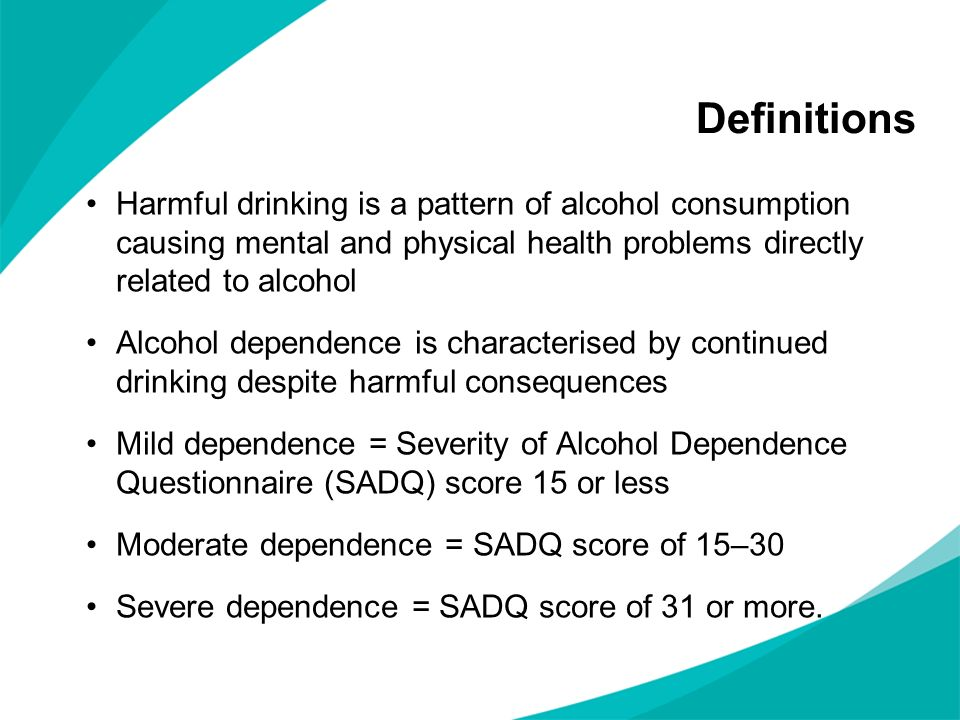 Definitions Harmful drinking is a pattern of alcohol consumption causing mental and physical health problems directly related to alcohol.