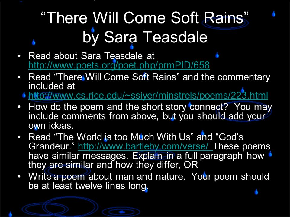 a literary analysis of there will come soft rains There will come soft rains is a short story by science fiction author ray bradbury which was first published in the may 6, 1950 issue of collier's.
