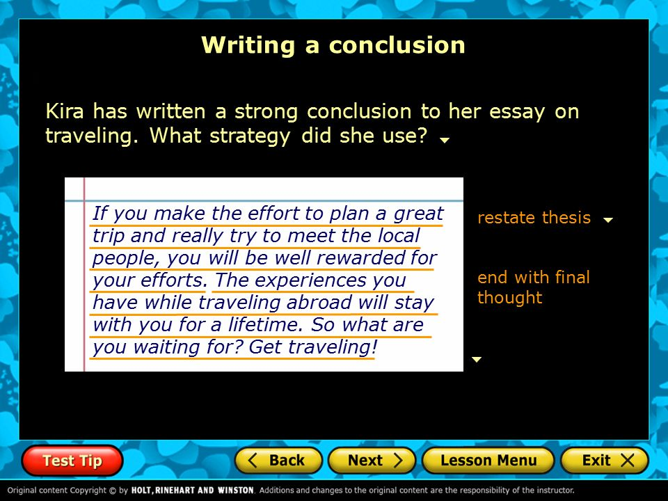 Writing a strong conclusion