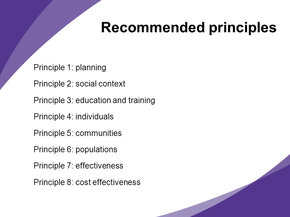 Recommended principles