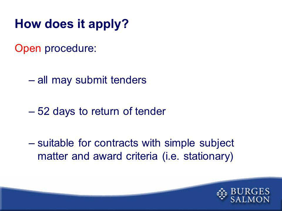 How does it apply Open procedure: all may submit tenders