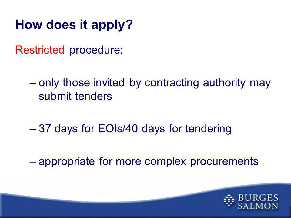 How does it apply Restricted procedure: