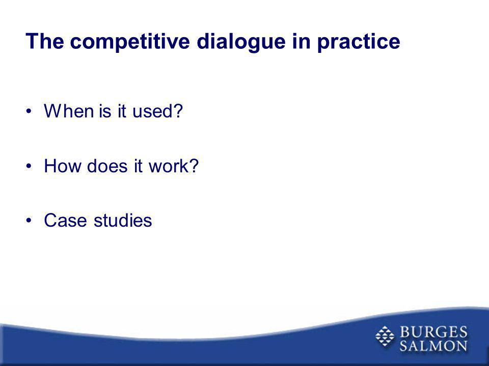The competitive dialogue in practice