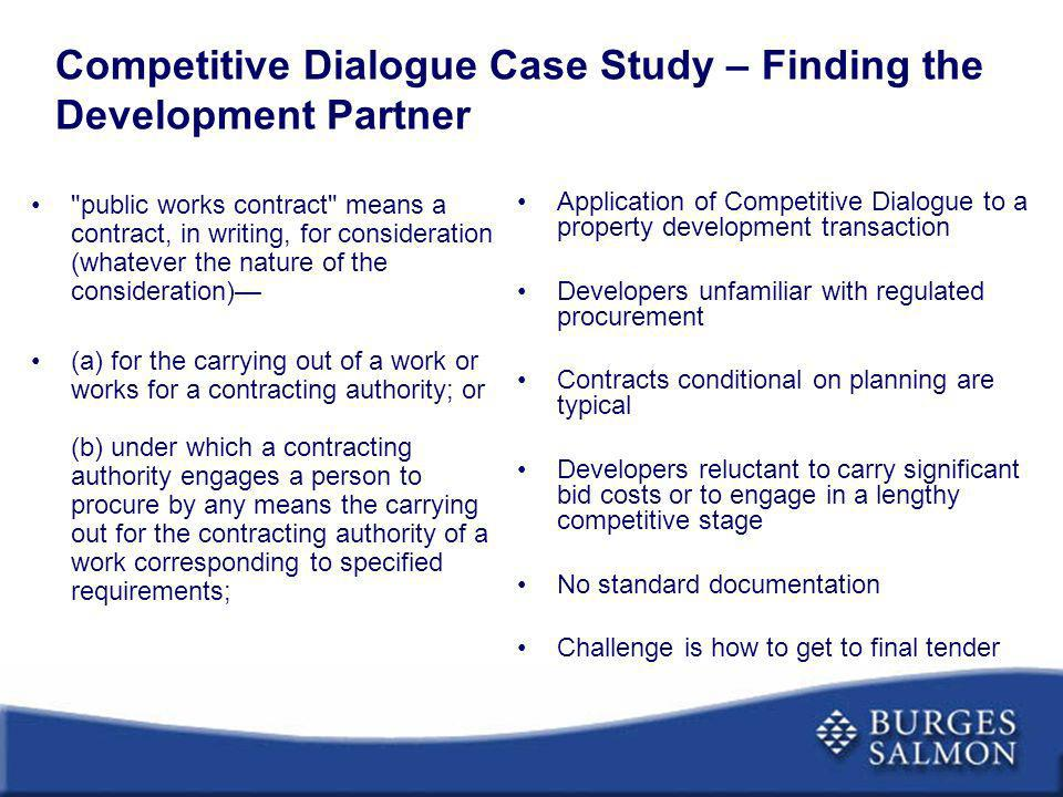 competitive dialogue presentation Competitive dialogue and negotiated procedures and who wish discuss practical issues relevant to procurements in 1300 presentation of case issues.