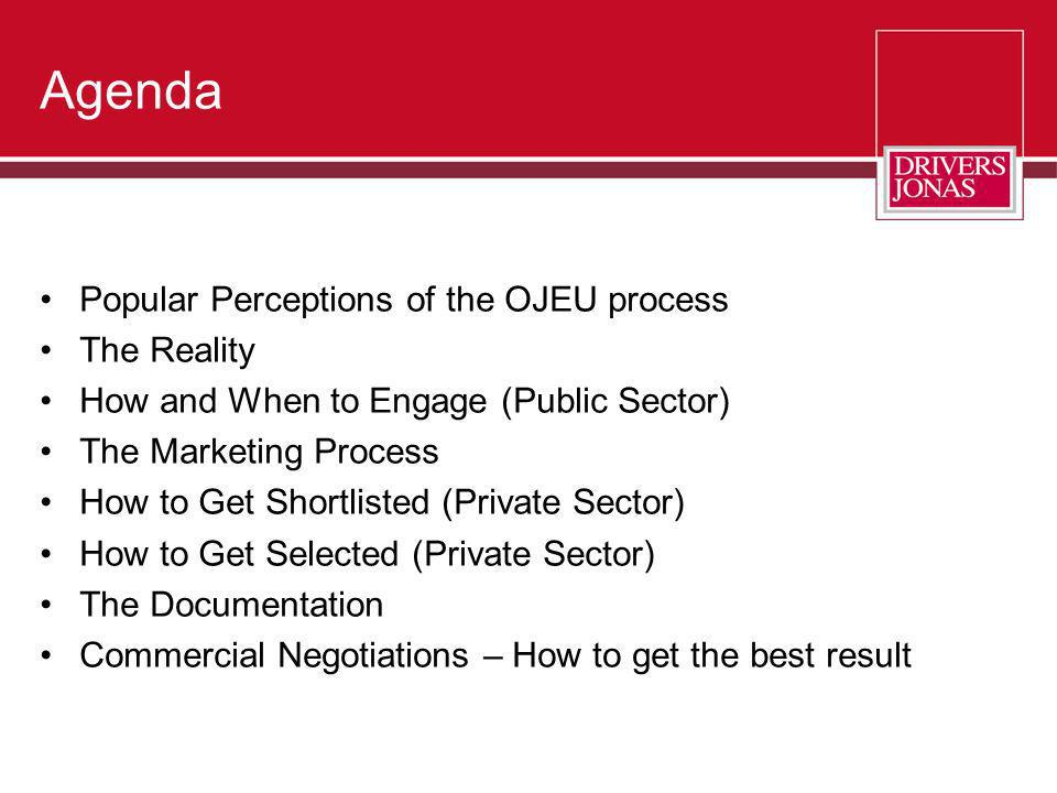 Agenda Popular Perceptions of the OJEU process The Reality