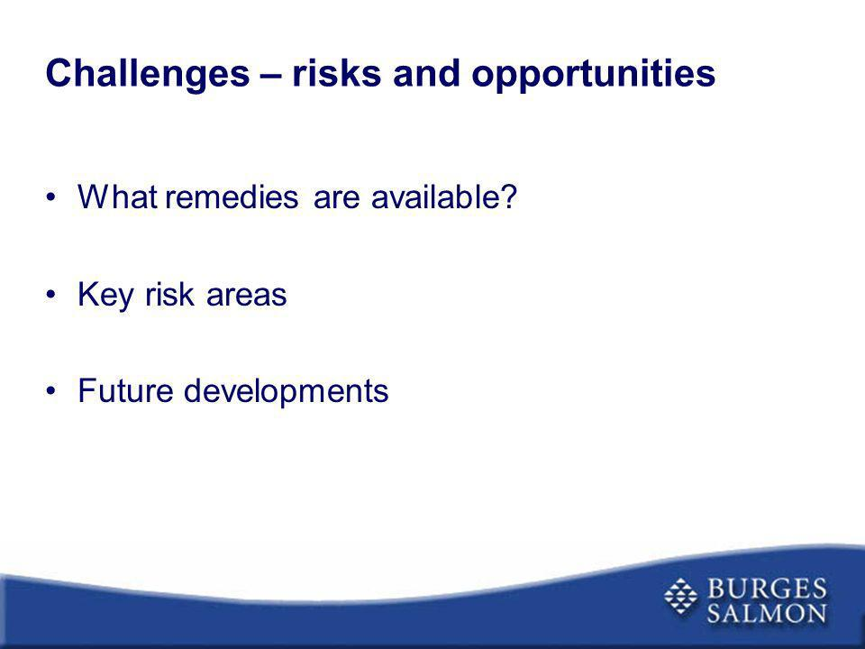 Challenges – risks and opportunities
