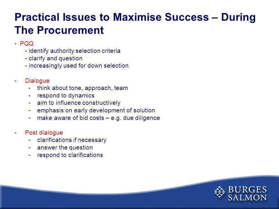 Practical Issues to Maximise Success – During The Procurement