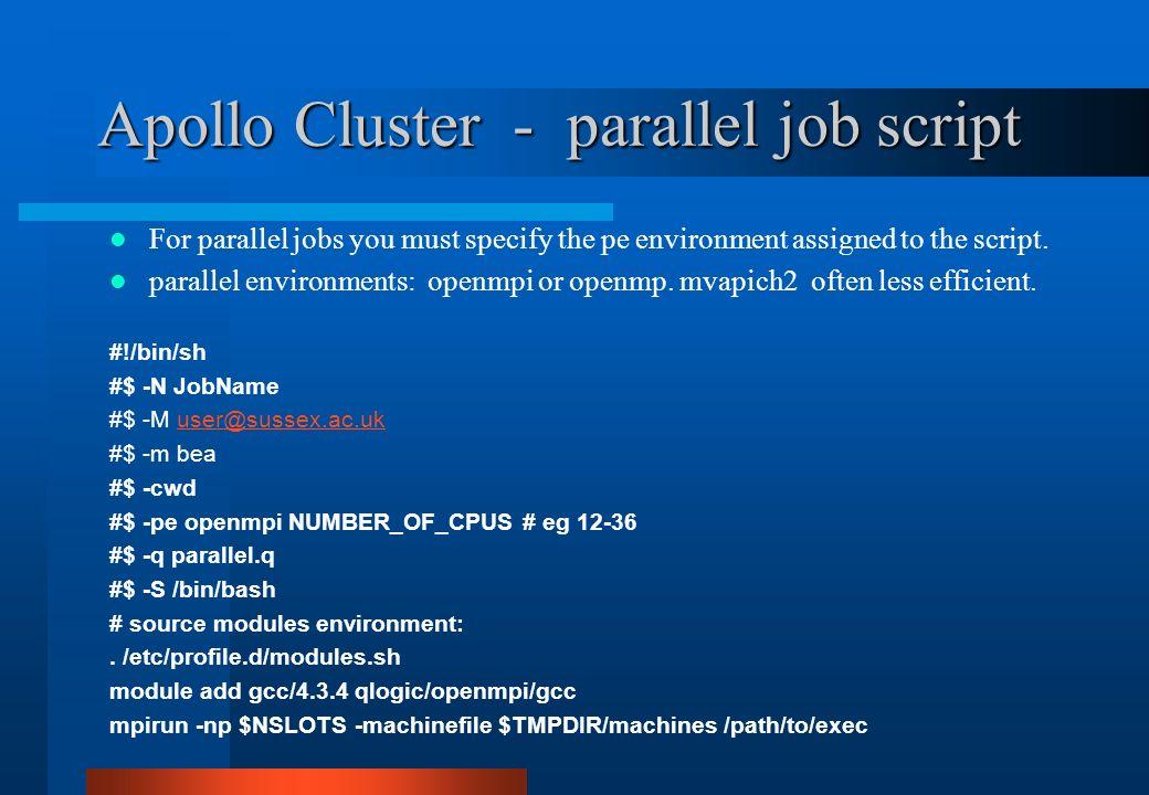 Apollo Cluster - parallel job script