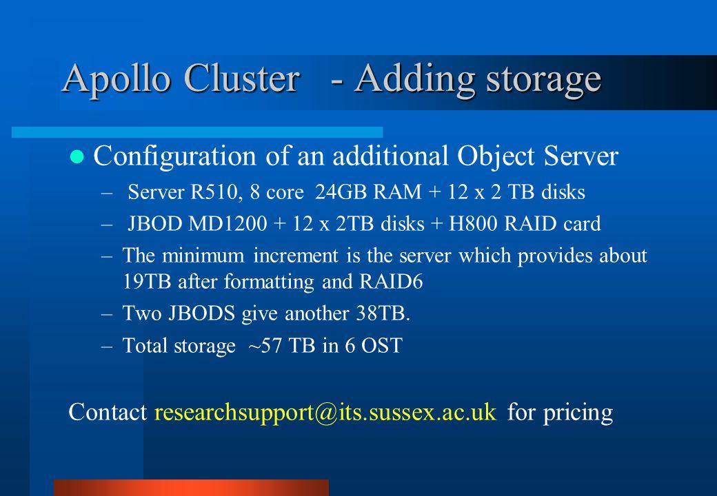 Apollo Cluster - Adding storage