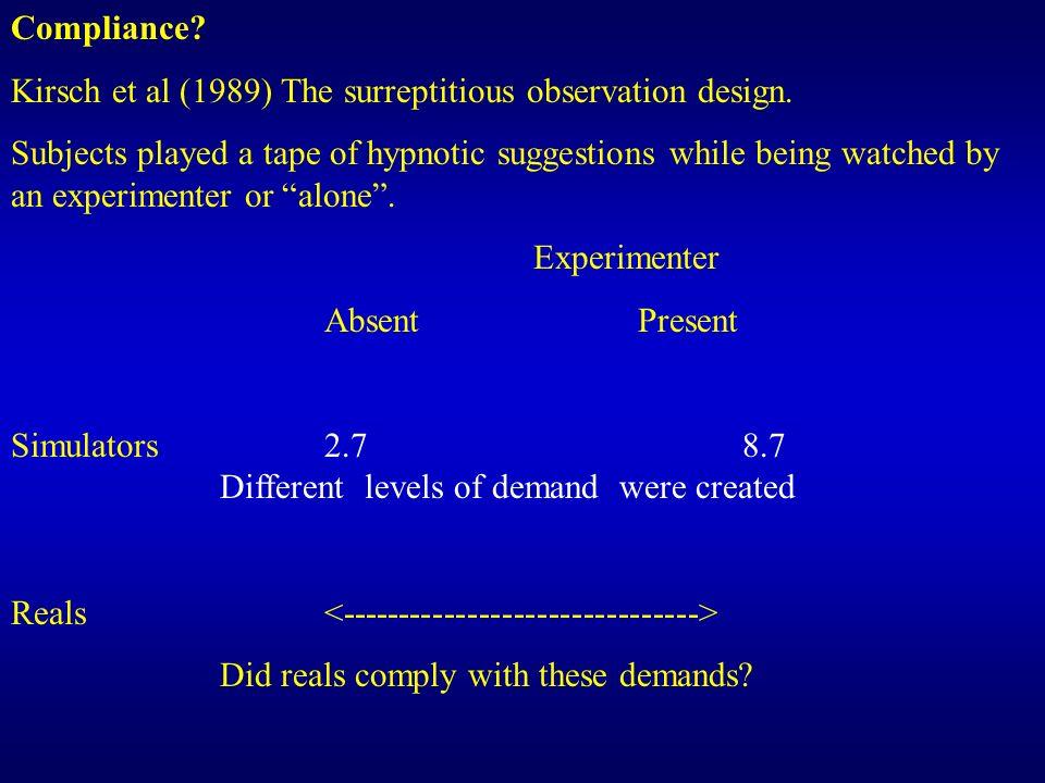 Compliance Kirsch et al (1989) The surreptitious observation design.