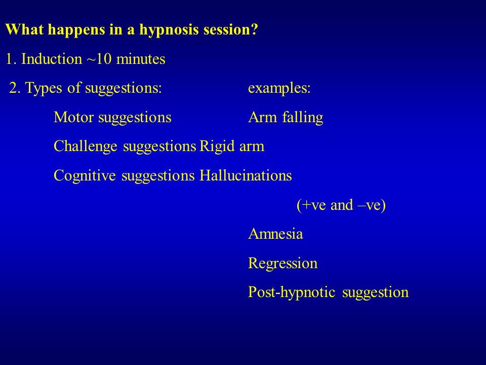 What happens in a hypnosis session