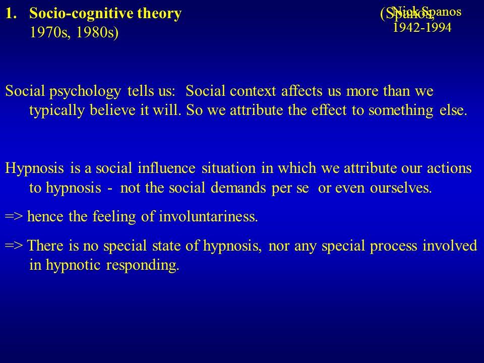 Socio-cognitive theory (Spanos, 1970s, 1980s)