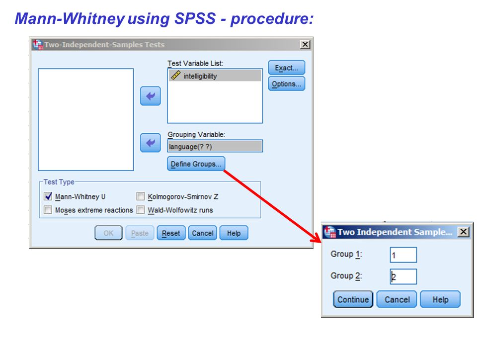 Mann-Whitney using SPSS - procedure: